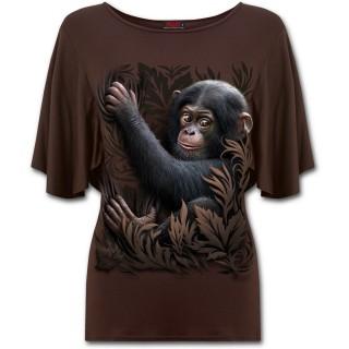 T-shirt femme à manches voilées avec bébé singe et feuillage marron