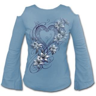 """T-shirt femme bleu à manches amples """"coeur pur"""" avec fleurs blanches"""