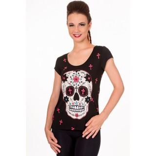 T-shirt femme goth-rock Banned à crane de sucre et croix
