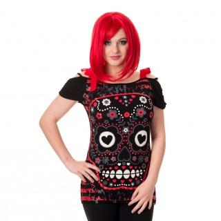 T-shirt femme goth-rock Banned à crane de sucre rouge