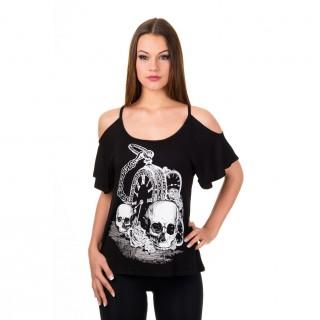 T-shirt femme goth-rock Banned à motif gousset, cranes et roses
