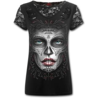 T-shirt femme gothique à dentelles et lacérations avec masque Catrina Calavera