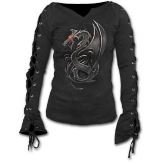 T-shirt femme gothique à manches longues à lacets avec Dragon style métalisé