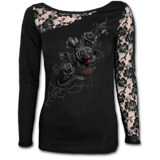 T-shirt femme gothique à manches longues en dentelle avec rose noire et serpent