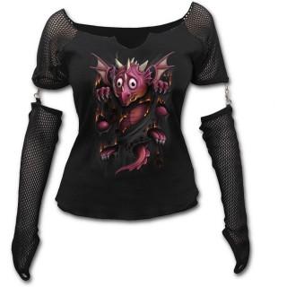 T-shirt femme gothique à manches longues style gant avec bébé dragon et griffures
