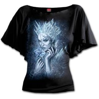 T-shirt femme gothique à manches voilées avec reine des glaces tenant une rose de givre