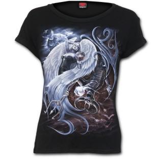 T-shirt femme gothique avec ange et démon en duel style Yin et Yang