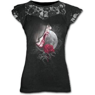 T-shirt femme gothique avec vampiresse et rose sur fond de lune