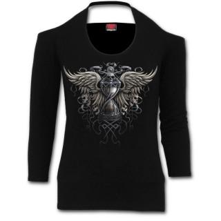 09ae1b87d8e T-shirt femme gothique manches longues à col licol et sablier de la mort