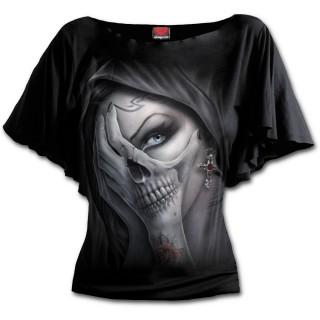 """T-shirt femme gothique manches voilées à """"Main de la mort"""""""
