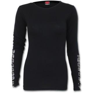 T-shirt femme gothique noir à manches longues avec anneaux