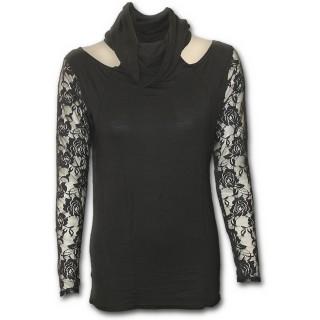 T-shirt femme gothique noir à manches longues et capuche