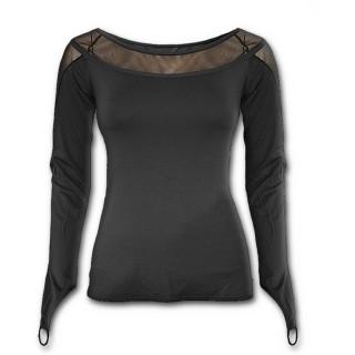 T-shirt femme gothique noir à manches longues et col large transparent