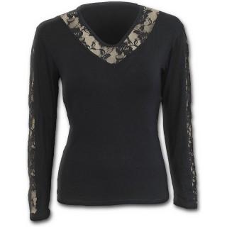 T-shirt femme gothique noir élégant à manches longues et dentelles
