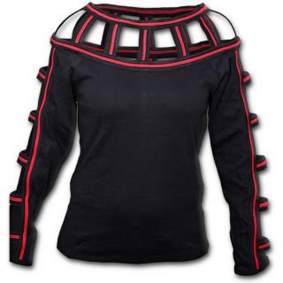 T-shirt femme gothique noir et rouge à col et manches longues à lanières