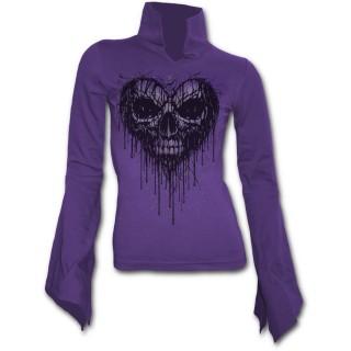 T-shirt femme gothique violet à manches amples avec crane sur coeur coulant