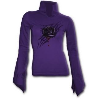T-shirt femme gothique violet à manches amples avec rose sur tribal