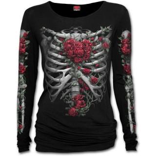 T-shirt femme manches longues à cage thoracique et coeur de roses