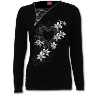 """T-shirt femme manches longues à zip et dentelle """"coeur pur"""" avec fleurs blanches"""
