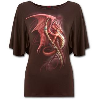 T-shirt femme marron à manches voilées avec dragon scandinave