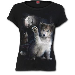 T-shirt femme noir avec bébé loup sur fond de lune