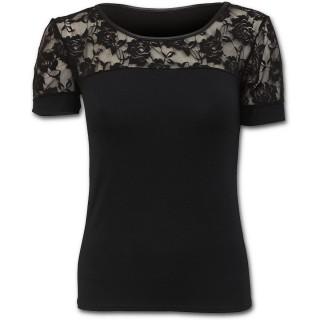 T-shirt femme noir gothique à dentelle de fleurs