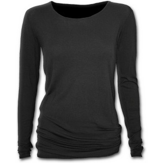 T-shirt femme noir gothique à manches longues