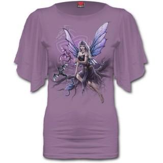 T-shirt femme pourpre à fée gardienne des dragons et manches voilées