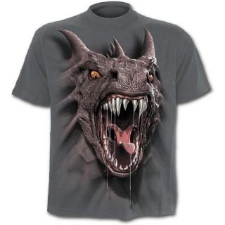 T-shirt gothique gris pour enfant à Dragon effet 3D