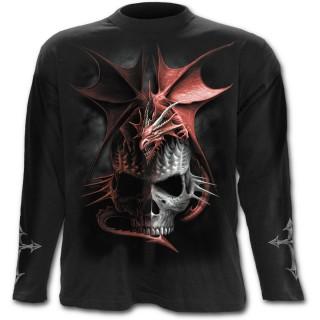 T-shirt gothique homme à manches longues à dragon rouge sur crane à pointes