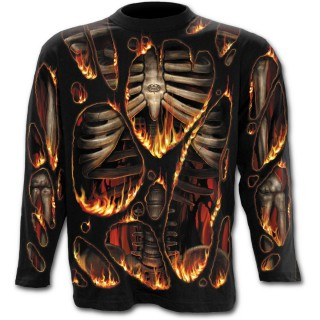 T-shirt gothique homme à manches longues à effet combustion spontanée