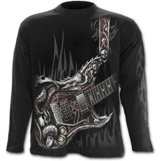 T-shirt gothique homme à manches longues à guitare avec dragon et cranes