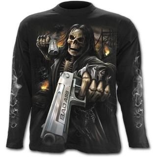 T-shirt gothique homme à manches longues à squelette flingueur aux cheveux longs