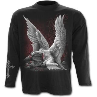 T-shirt gothique homme à manches longues avec ange pleurant son amour defunt