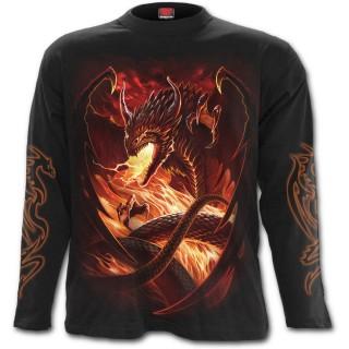T-shirt gothique homme à manches longues avec dragon et orbe de feu