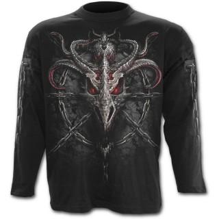 T-shirt gothique homme à manches longues avec dragons et chaines