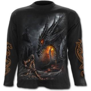 T-shirt gothique homme à manches longues avec guerrier à halbarde combattant un dragon