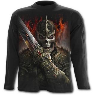 T-shirt gothique homme à manches longues avec guerrier dragon et scène de duel