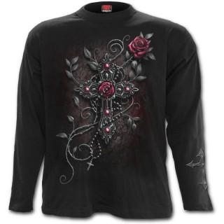 T-shirt gothique homme à manches longues avec jeune femme religieuse, rose et crucifix