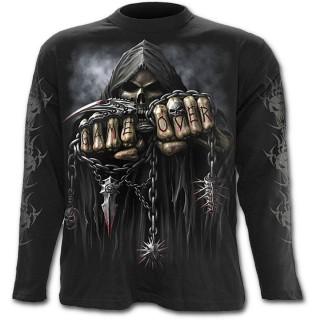 T-shirt gothique homme à manches longues avec la Mort à chaine de combat