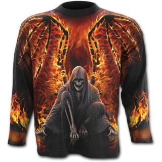 """T-shirt gothique homme à manches longues avec """"La Mort"""" aux ailes de feu"""