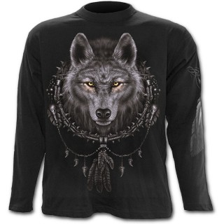 T-shirt gothique homme à manches longues avec loup et attrape-rêves amérindien