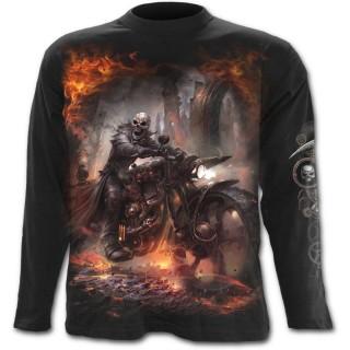 T-shirt gothique homme à manches longues avec motard en squelette et sa moto steampunk