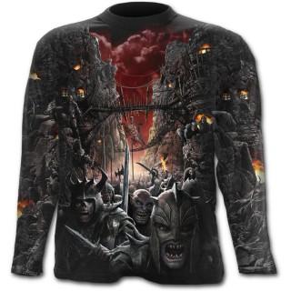 T-shirt gothique homme à manches longues avec scène de bataille épique