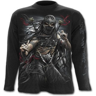 T-shirt gothique homme à manches longues avec squelette assassin ninja