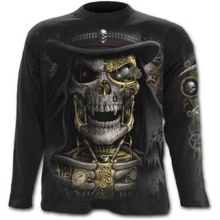 T-shirt gothique homme à manches longues avec squelette Steam Punk