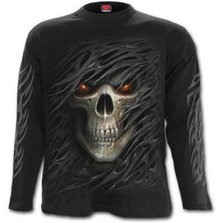 achat t shirt gothique homme manches longues avec t te de mort voile d chir pas cher. Black Bedroom Furniture Sets. Home Design Ideas