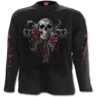T-shirt gothique homme à manches longues avec tête de mort, femme masquée et roses
