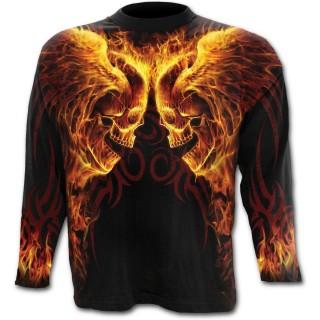 T-shirt gothique homme à manches longues avec têtes de morts ailées enflammées