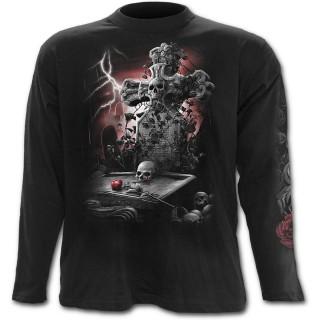 T-shirt gothique homme à manches longues avec tombe et femme en deuil à rose